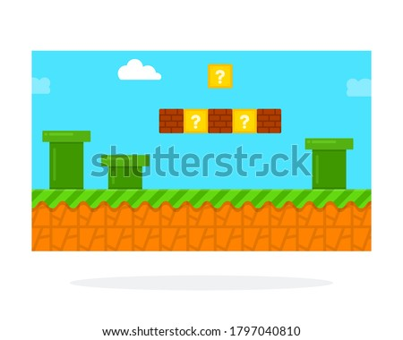 Screenshot of a retro computer game vector icon flat isolated.