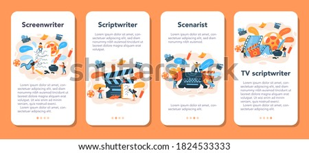 Screenwriter mobile application banner set. Person create a screenplay for movie. Author writing new scenario for cinematography. Hollywood industry. Isolated vector illustration Foto d'archivio ©