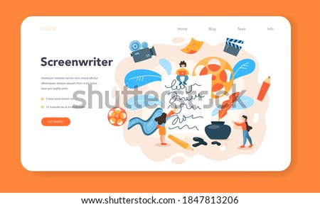 Screenwriter web banner or landing page. Person create a screenplay for movie. Author writing new scenario for cinematography. Hollywood industry. Isolated vector illustration Foto d'archivio ©