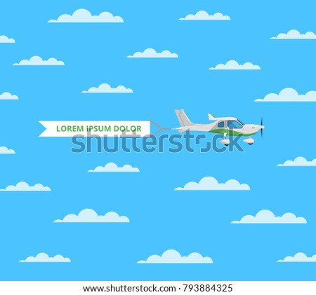 Screw aircraft with banner in cloudy blue sky. Comfortable air transportation banner with side view propeller airplane. Pilot academy advertising, commercial small aviation vector illustration.