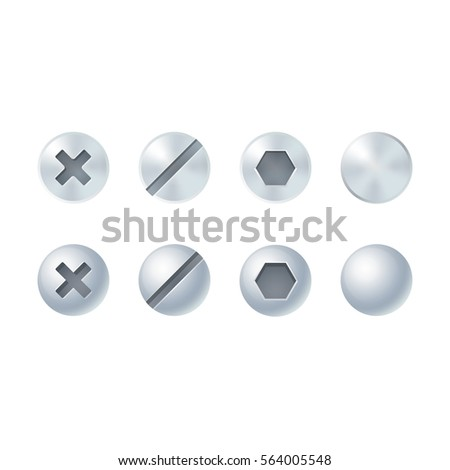 Screw and bolt heads set, different types and shapes. Isolated vector design elements.