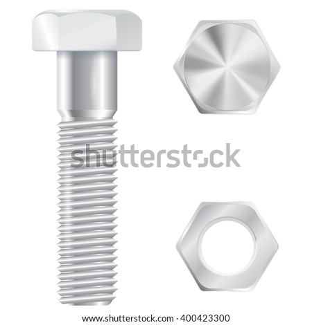 Shutterstock Screw bolt with nut. Realistic vector illustration isolated on white background