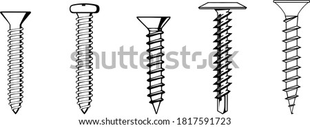 Screw nut set drawing, Nuts, Bolts & Screws Collection, Isometric View, Technical Illustration, Cotter Pin, Vector Machine Screws, Angle, 3D, Hex Head, Phillips, Flathead, Exploded Diagram, Engineerin Foto d'archivio ©