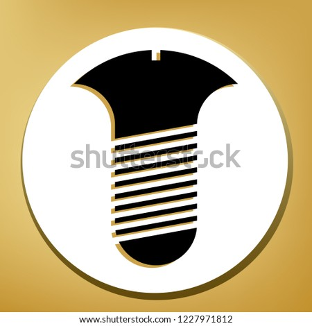 Screw sign. Vector. Black icon with light brown shadow in white circle with shaped ring at golden background.