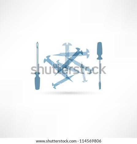 Screwdriver and screws .Repair Icon