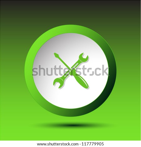 Screwdriver and spanner. Plastic button. Vector illustration.