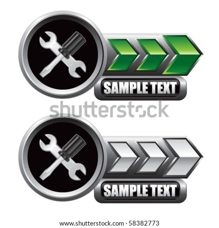 screwdriver and wrench green and white arrow nameplates