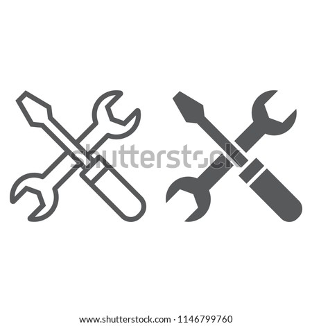 Screwdriver and wrench line and glyph icon, settings and repair, service sign, vector graphics, a linear pattern on a white background, eps 10.