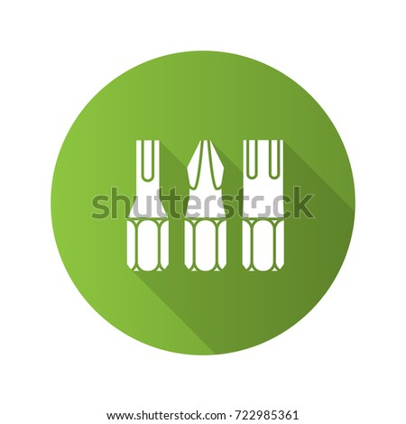 Screwdriver bits flat design long shadow glyph icon. Vector silhouette illustration