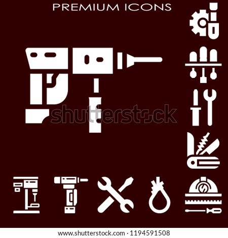 screwdriver concept. Simple modern set of  screwdriver icons such as drill, screwdriver, tools, swiss knife. screwdriver icons use for seb and mobile.