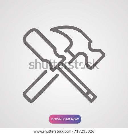 screwdriver hammer icon vector eps