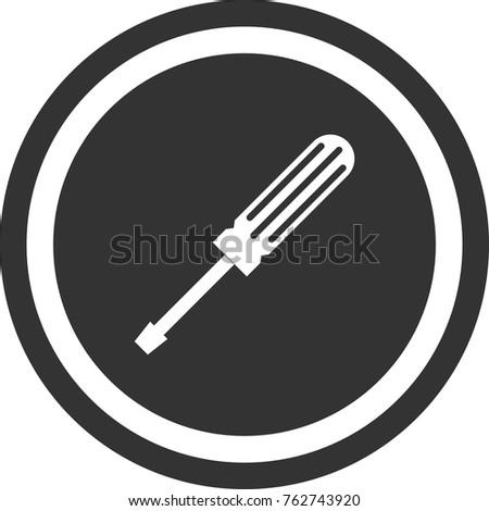 Screwdriver icon , dark circle sign design