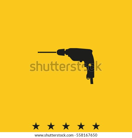 Screwdriver icon. Drill illustration.