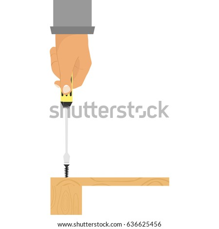 Screwdriver in hand, hand twisting the screw. Flat design, vector illustration, vector.