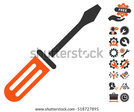 Screwdriver pictograph with bonus settings images. Vector illustration style is flat iconic orange and gray symbols on white background.