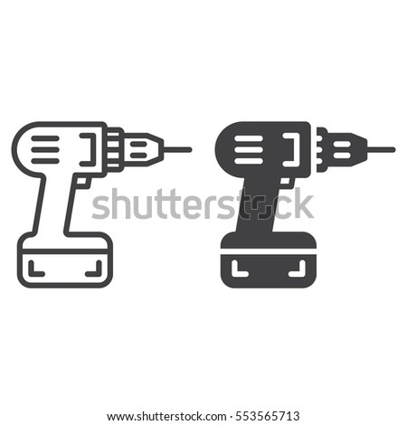 Screwdriver, power drill line icon, outline and filled vector sign, linear and full pictogram isolated on white. Symbol, logo illustration