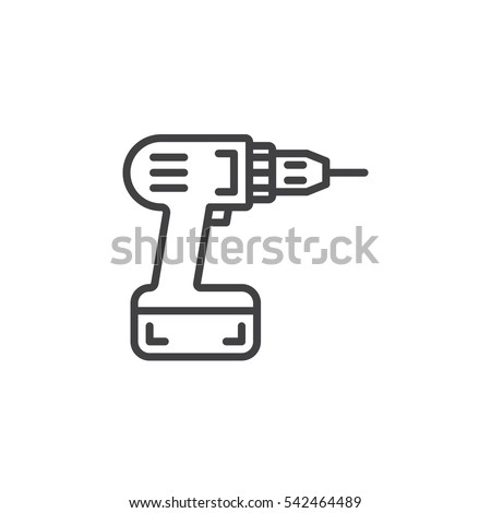 Screwdriver, power drill  line icon, outline vector sign, linear pictogram isolated on white. Symbol, logo illustration