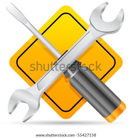 Screwdriver, spanner and sign - vector illustration