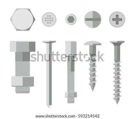Screws and bolts in flat style. Vector illustration of metallic fixing elements.