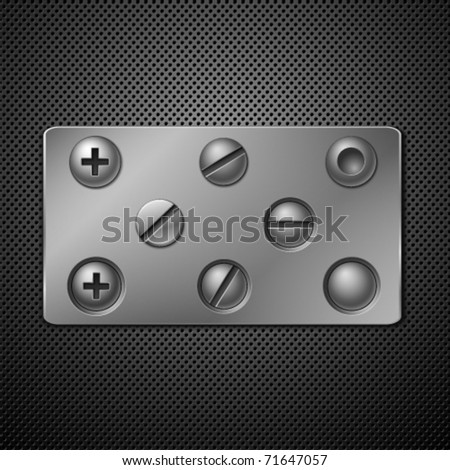 Screws and rivets. Elements for your design. Vector illustration.