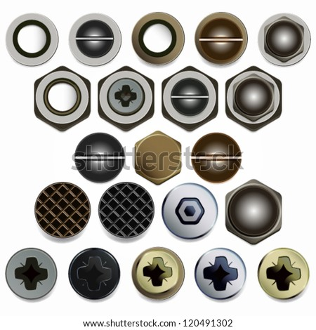 Screws, bolts and nuts heads vector set. Isolated on white background.