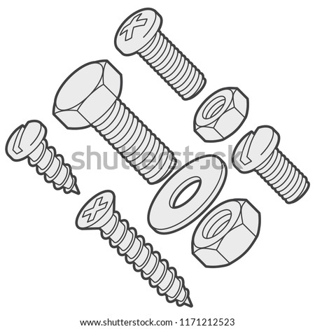 Screws, bolts, nuts, nails and rivets isolated on white background. Vector illustration.