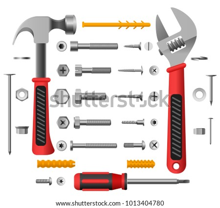 Screws, nuts and tools. Nail and screw isolated on white background, screwdriver and hammer vector illustration