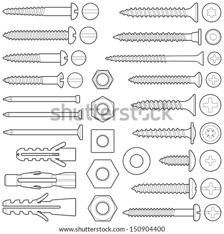 Screws / nuts / nails and wall plugs collection - vector illustration