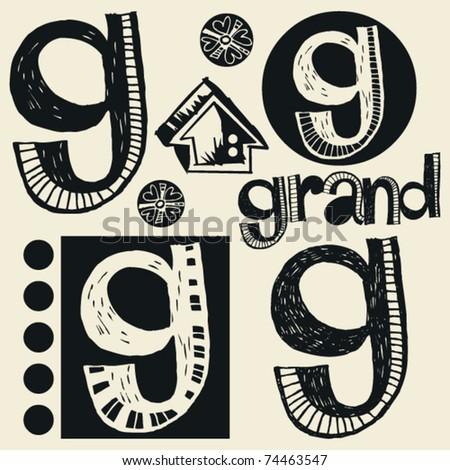 scribble alphabet, crazy doodle G