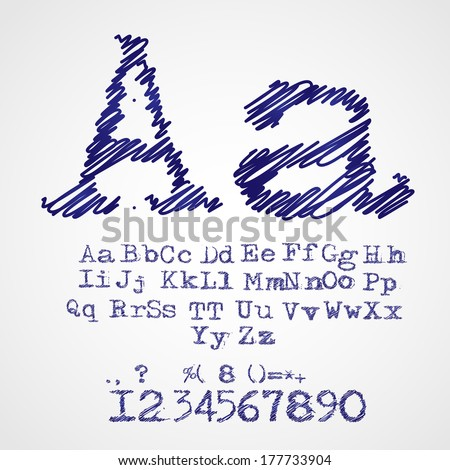 Scribble alphabet drawn with blue pen vector