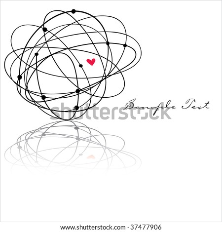 Scribble Ball heart with area for text