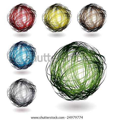 Scribble balls with colour variation with drop shadow - stock vector
