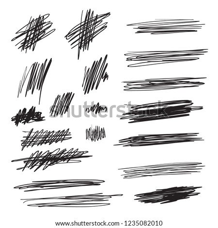 Scribble brush strokes set, vector logo design element