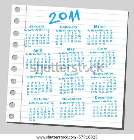 "Scribble ""2011 calendar""."