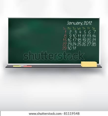 Scribble calendar on the blackboard. January 2012