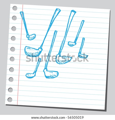 Scribble golf sticks - stock vector
