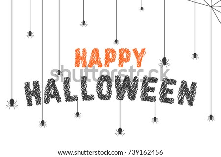 scribble happy halloween text with spider web. concept of american terrible holiday for kids or retro banner with cobweb. flat style trend modern graphic art design isolated on white background