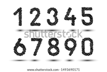 Scribble hatching criss cross numbers. Hand drawn symbols. Sketches shaded and hatched badges and stroke shapes. Monochrome vector design elements. Isolated illustration. Sketch Vector, sketched font.