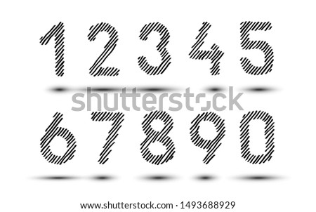 Scribble hatching numbers. Hand drawn symbols. Sketches shaded and hatched badges and stroke shapes. Monochrome vector design elements. Isolated illustration. Sketch Vector, sketched font. EPS 10.