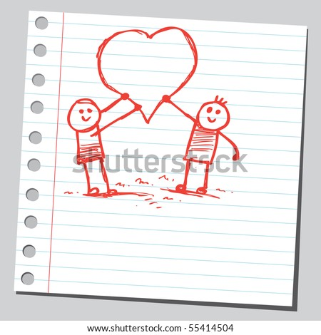 Scribble kids holding hearts