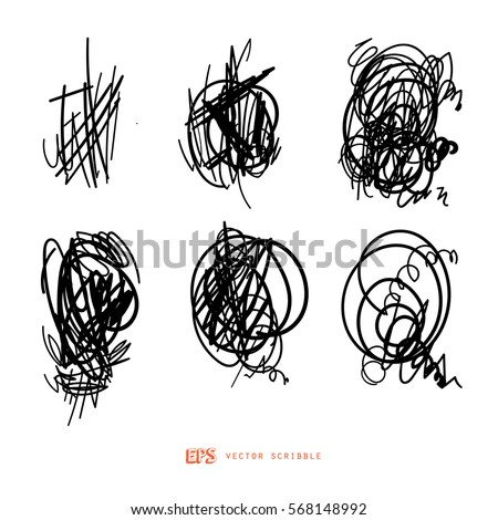 Scribble line design art elements. May use as brush.