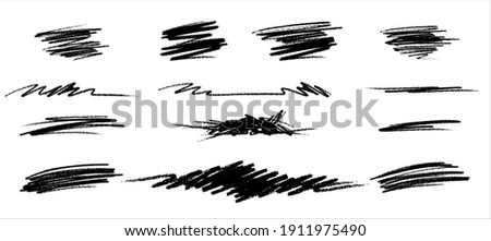 Scribble line set. Hand Drawn lines in Pencil. Charcoal smears. Vector logo design element Stock photo ©