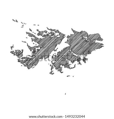 Scribble map of Falkland Islands black drawing, pencil sketch on white background. Vector illustration eps10.