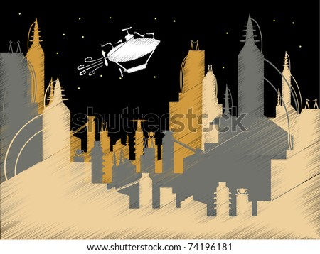 Scribble Science Fiction City Flying Blimp Vector vector illustration