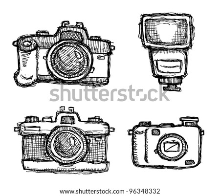 scribble series - cameras - stock vector