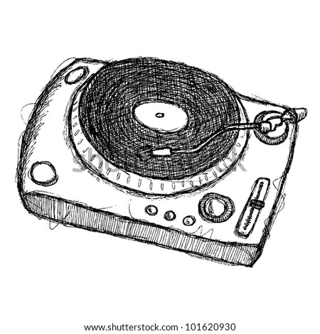 scribble series - turntable - stock vector
