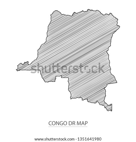Scribble sketch of Congo DR map and Country name on white background. Symbol for your web site design map logo. scribble map of Africa. app, ui, Travel vector eps10, concept Illustration.