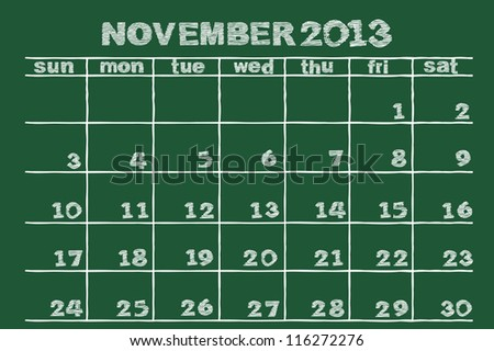 scribble sketch of  November 2013 calendar  on blackboard