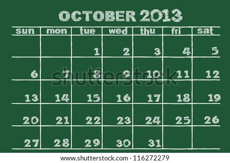 scribble sketch of  October 2013 calendar  on blackboard