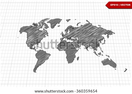 Scribble style world maps download free vector art stock graphics scribble sketch of world map on gridvector illustration gumiabroncs Gallery